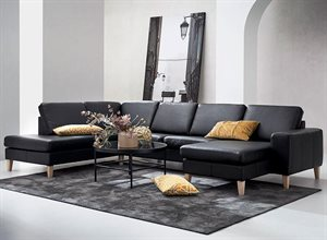 Visby sofa med open end og chaiselong - Sort